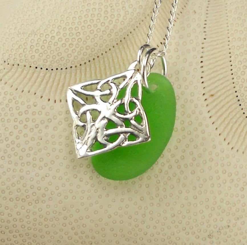 Sterling Silver GENUINE  Kelly Green Sea Glass Pendant Green Celtic Knot