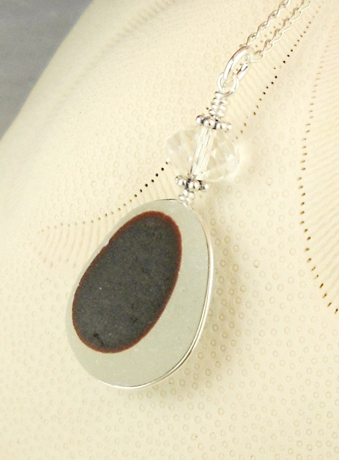 Eco Friendly GENUINE Deep Maroon English Sea Glass Necklace