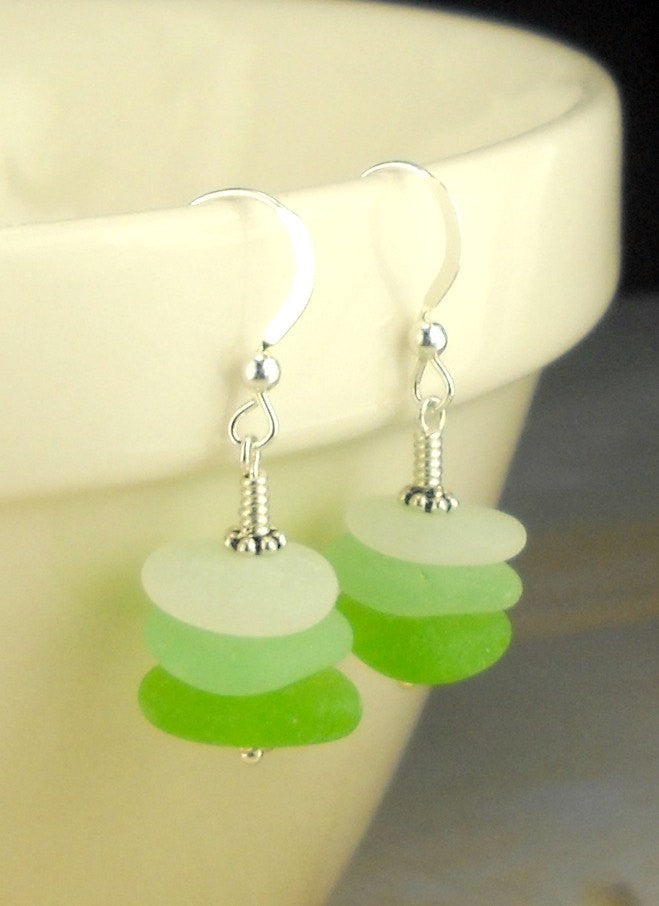 Eco Friendly Jewelry Sea Glass Earrings Sterling Green Sea Foam