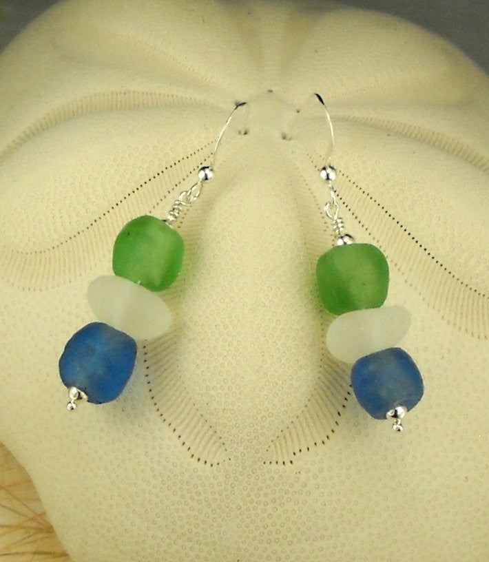 Ocean Waves Recycled Eco Friendly Sea Glass Earrings With Ghana Beads