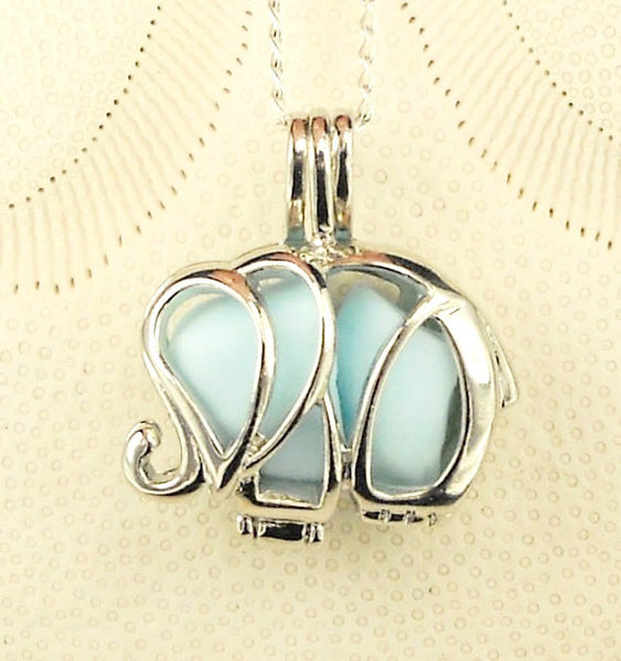 Milk Glass elephant Locket Necklace