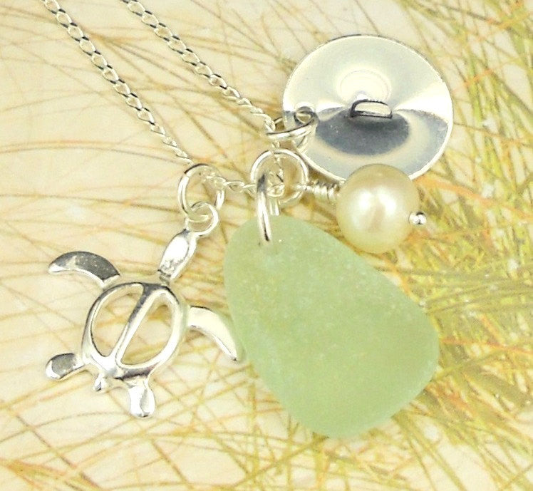Turtle Necklace Personalized with Sea Glass