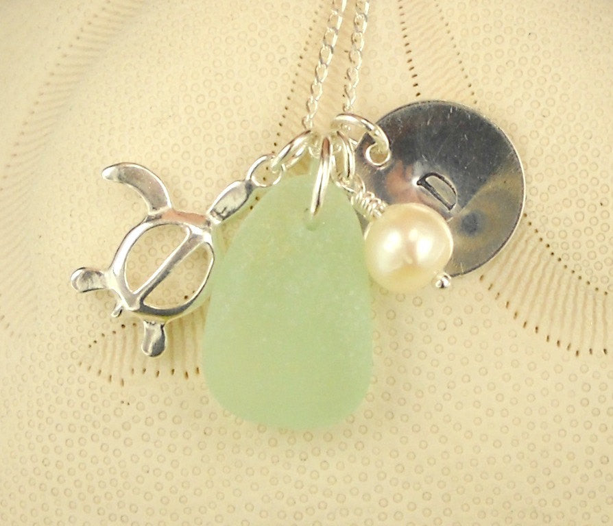 Personalized Jewelry Initial Necklace With GENUINE Sea Glass