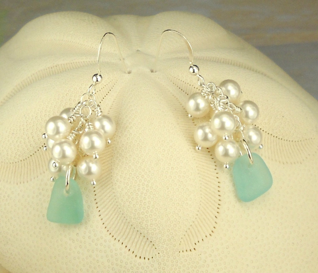 GENUINE Turquoise Sea Glass Earrings Sterling Silver With Pearls