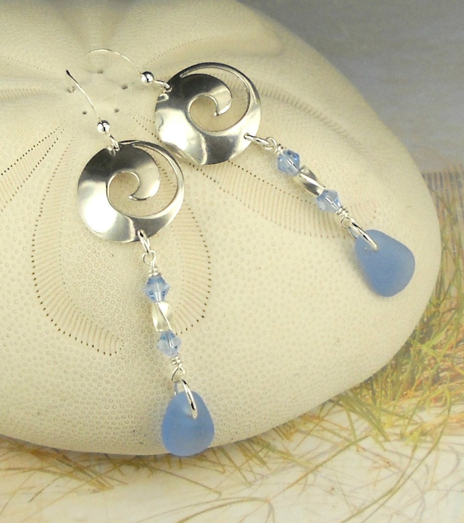 Long Sterling Silver Wave Rare Cornflower Blue Sea Glass Earrings Eco Friendly