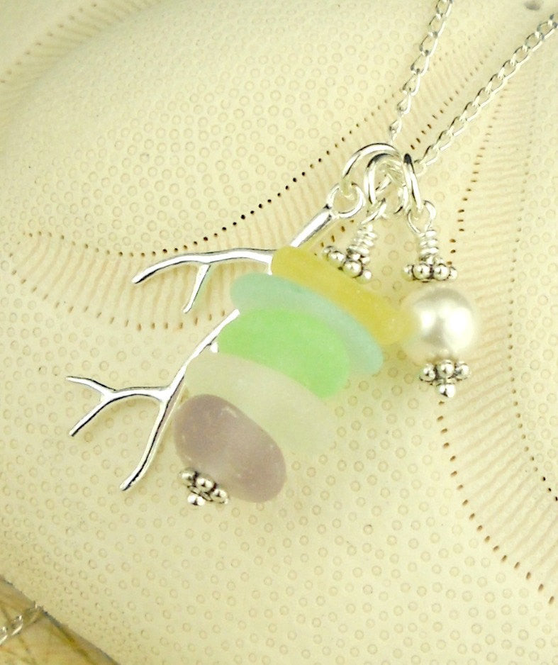 Swarovski Crystal Pearl Necklace GENUINE Sea Glass Necklace  In Pastels Very RARE Colors Sterling Coral
