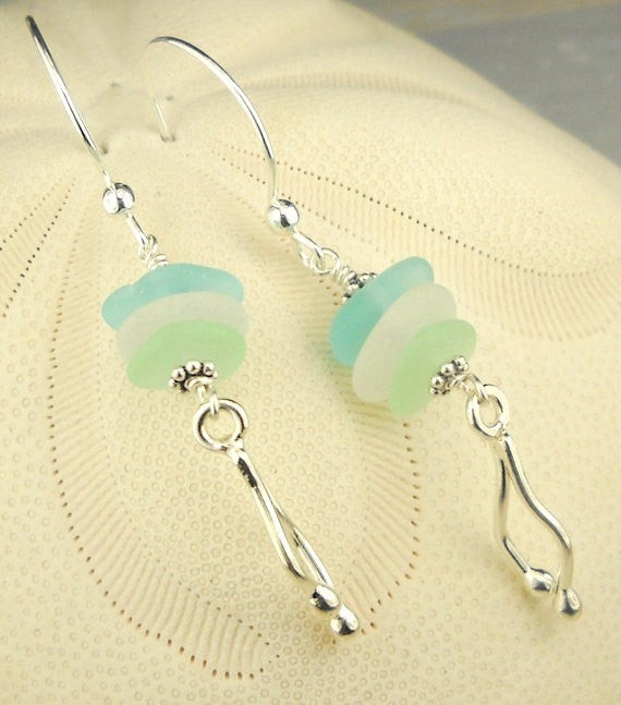 GENUINE Seaglass Jewelry Jellyfish Earrings Fine Silver Seafoam Aqua and White