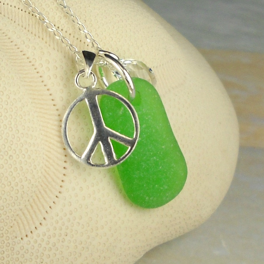 Swarovski Crystal Necklace Kelly Green Sea Glass Peace Necklace