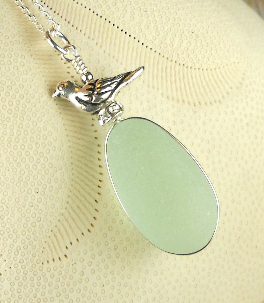 Genuine Sea Glass Jewelry Wire Wrapped Aqua Bird Necklace On Swarovski Crystal Nest