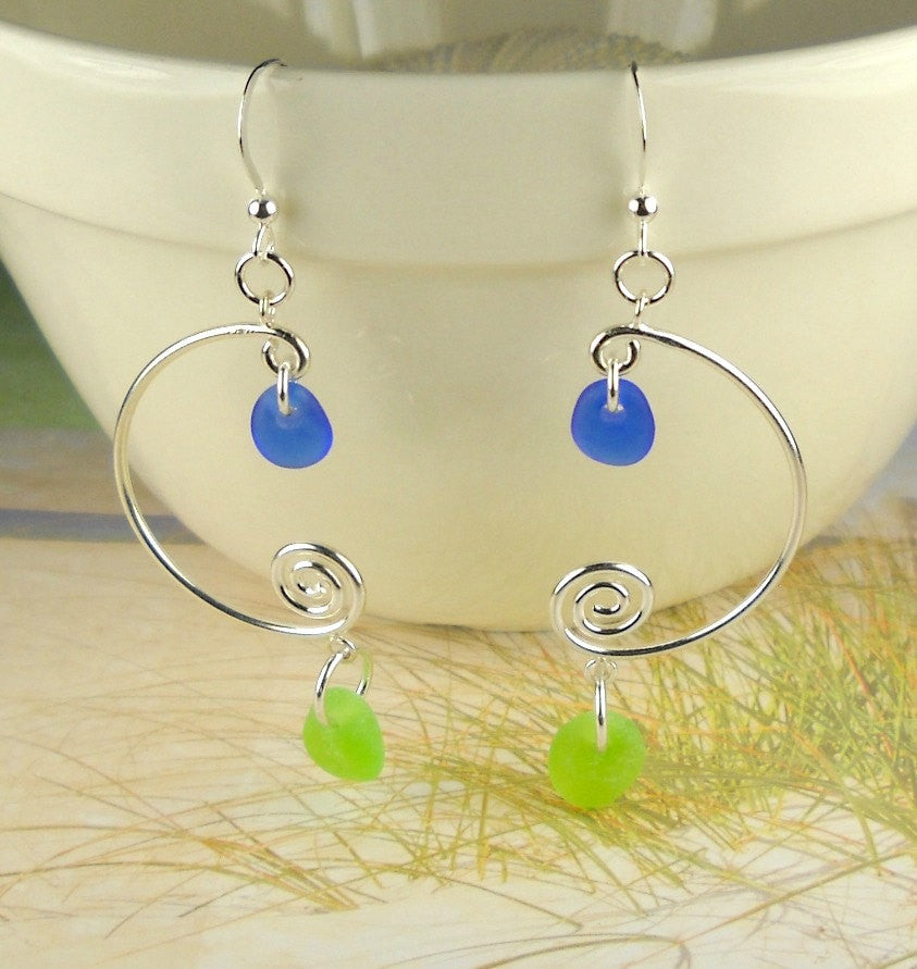 Sea Glass Earrings Sterling Silver Cobalt Blue And Lime Green Eco Friendly