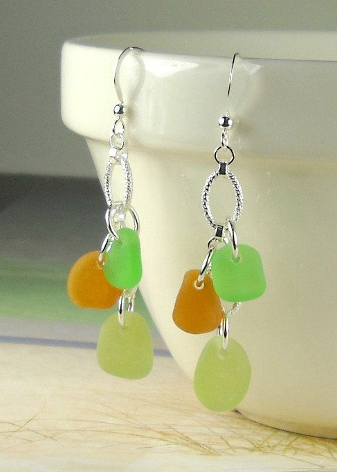 GENUINE Sea Glass Earrings Trio Mini Autumnal Amber Green And Olive