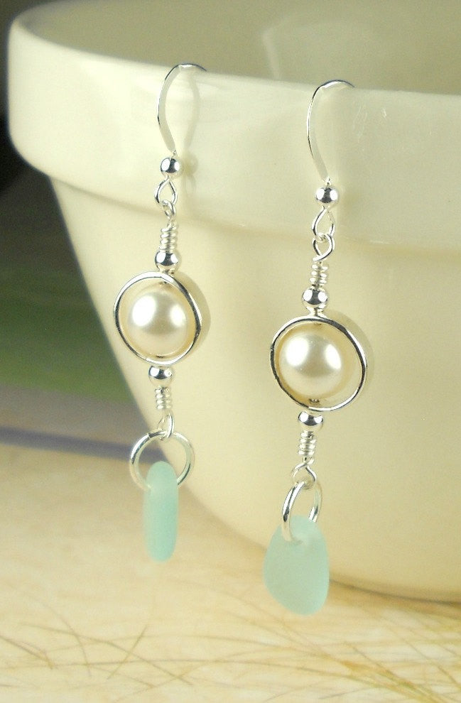 GENUINE Turquoise Sea Glass Earrings Sterling Silver And Pearl Jewelry