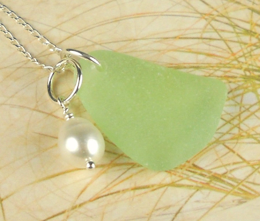GENUINE Sea Foam Sea Glass Necklace With Wire Wrapped Pearl