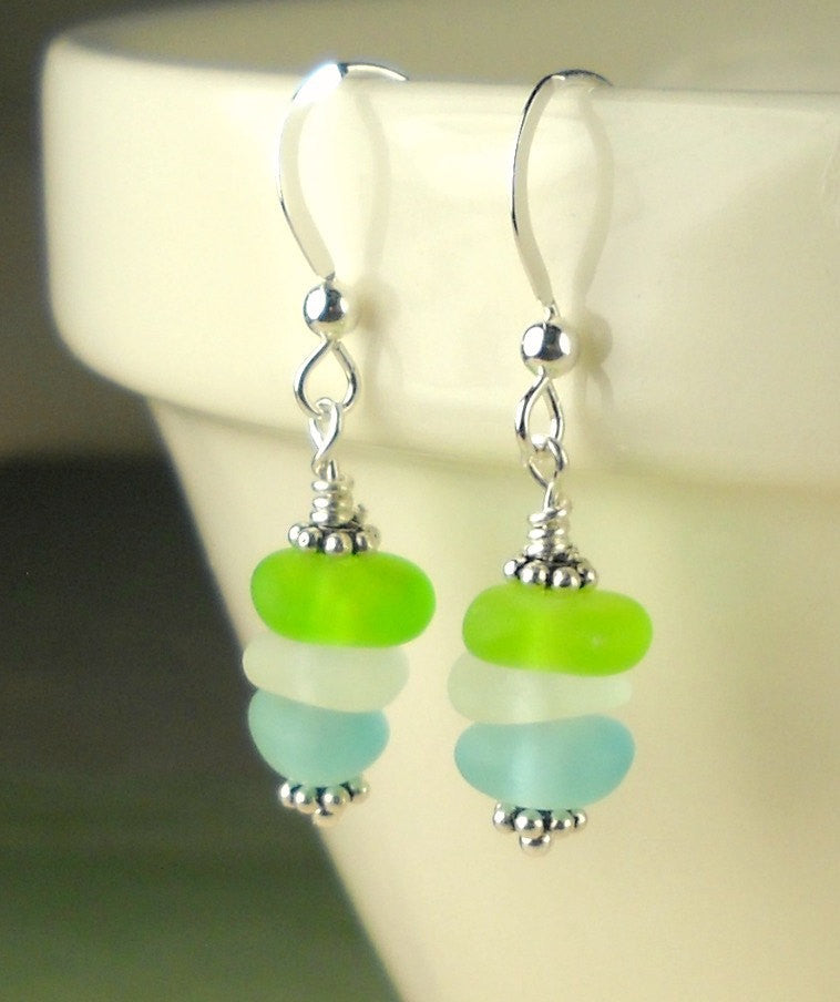 GENUINE Sea Glass Earrings Sterling Silver Lime Green Turquoise