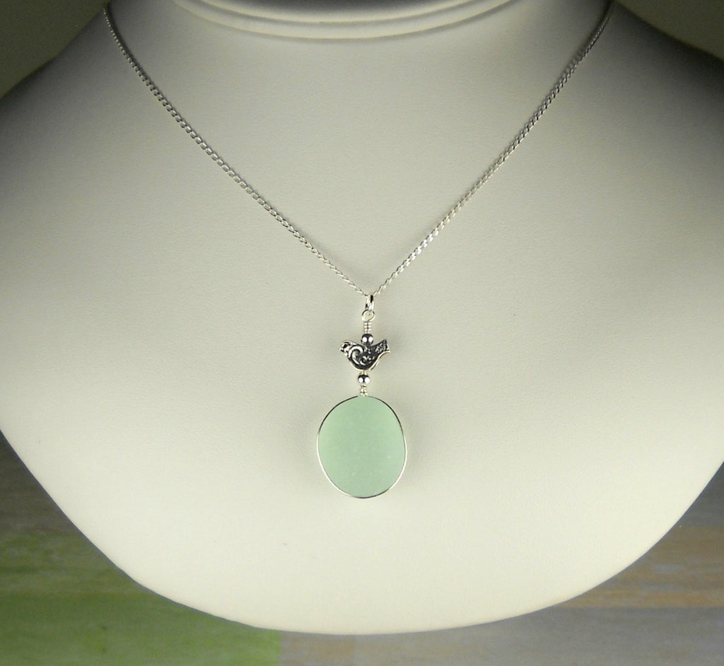 GENUINE  English Sea Glass Pendant, Sterling Silver Bird Necklace, Aqua Sea Glass Jewelry, Wire Wrapped Necklace, Gift For Her