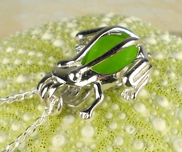 Sterling Silver GENUINE Sea Glass Necklace Green Frog Pendant Locket