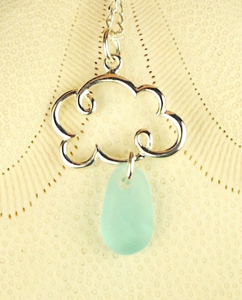 Cloud Necklace With Sea Glass Rain