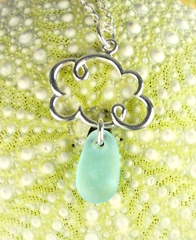 Aqua Blue Cloud Necklace With GENUINE Sea Glass Jewelry