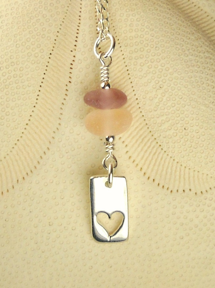 Eco Friendly Sterling Silver Heart Necklace GENUINE Sea Glass Jewelry Pink And Purple