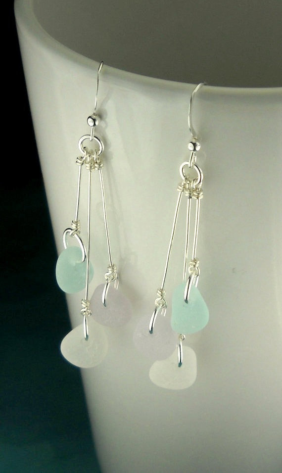 Dangle Earrings Beach Earrings GENUINE Sea Glass Jewelry