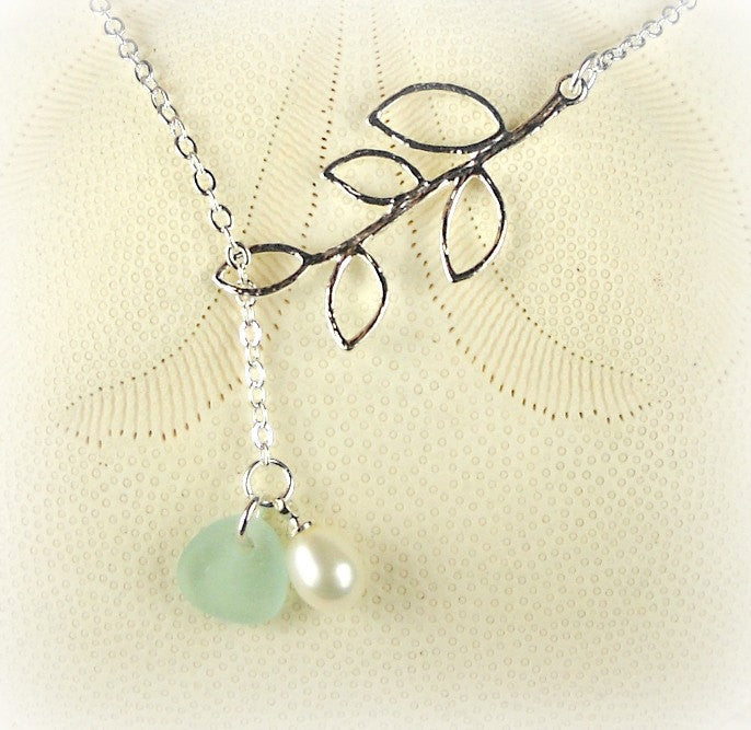 Lariat Necklace GENUINE Aqua Sea Glass Jewelry With Pearl Gift For Her Sterling Silver
