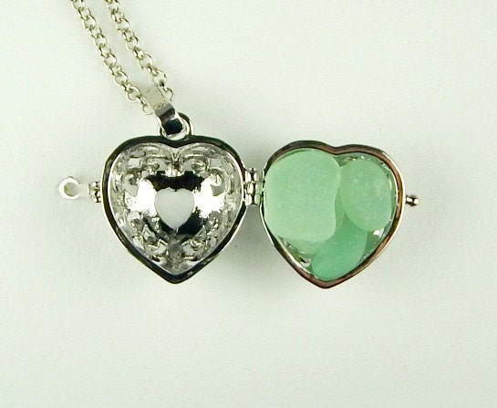Heart Locket Necklace GENUINE Aqua Sea Glass Jewelry Beach Jewelry On Long Chain