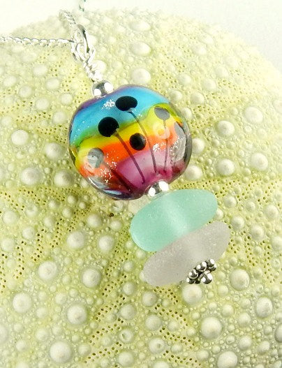 Eco Friendly GENUINE Sea Glass Necklace Rainbow Jewelry