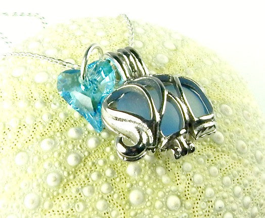 Blue Elephant Locket Jewelry Genuine Sea Glass Necklace With Swarovski Heart