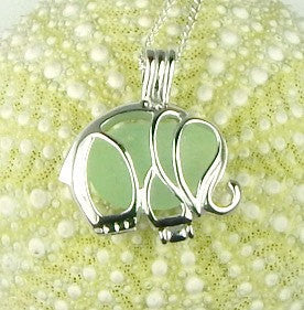 sea glass elephant locket