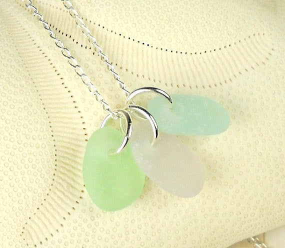 MINI Sea Glass Necklace Trio Amethyst Seafoam Green and Turquoise Rare Pastel Colors
