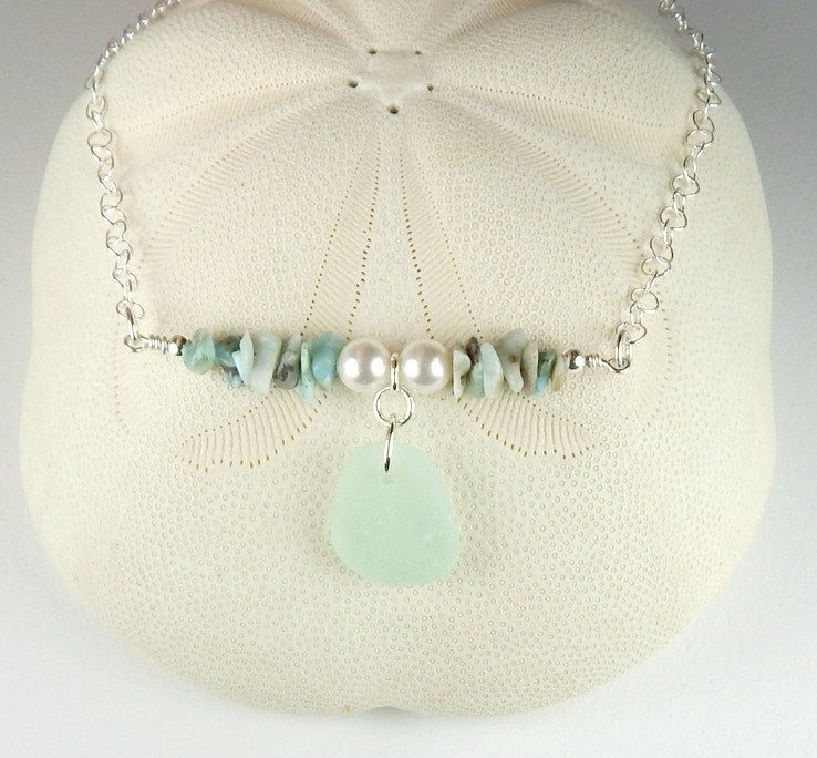 Larimar Necklace Genuine Aqua Sea Glass Jewelry Caribbean Jewelry  Dominican Republic Cruise Necklace