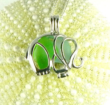 Elephant Necklace GENUINE Sea Glass Jewelry In Locket