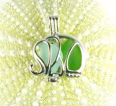 Sea Glass Elephant Locket Necklace