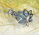 Lotus Locket Necklace GENUINE Sea Glass Zen Yoga Jewelry Sterling Silver