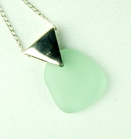 GENUINE Sea Glass Jewelry Geometric Triangle Necklace Sea Foam Seaglass