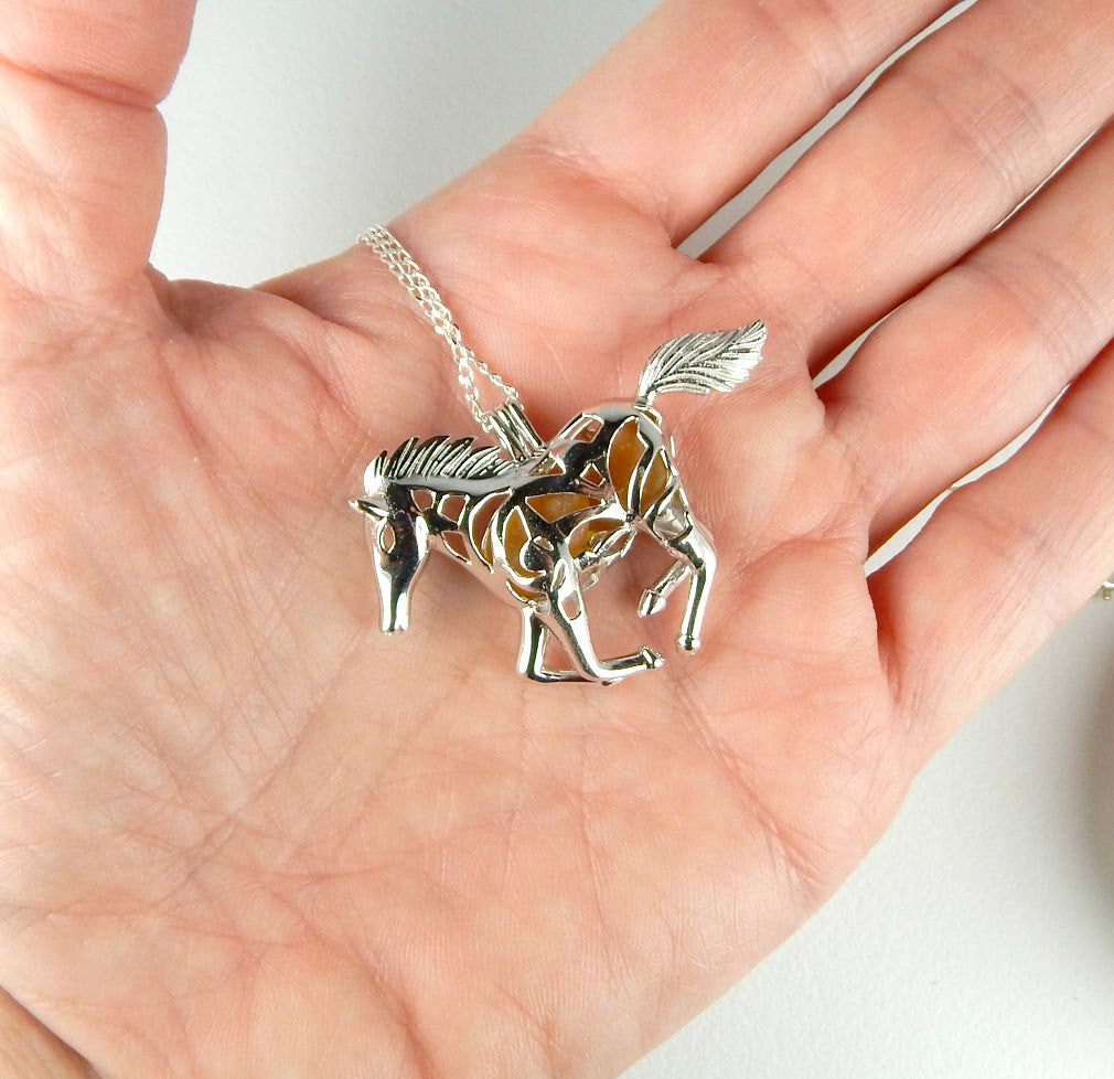 Sterling Silver Horse Necklace GENUINE Amber Sea Glass Jewelry In Horse Locket