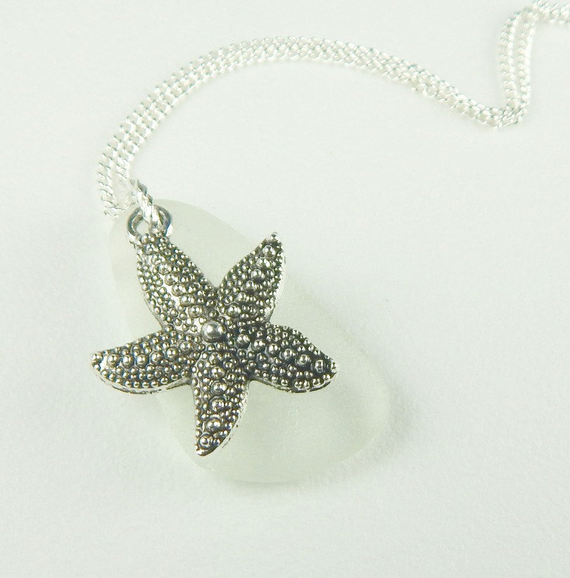White Sea Glass Jewelry Starfish Necklace Beach Jewelry Genuine Seaglass Eco Friendly