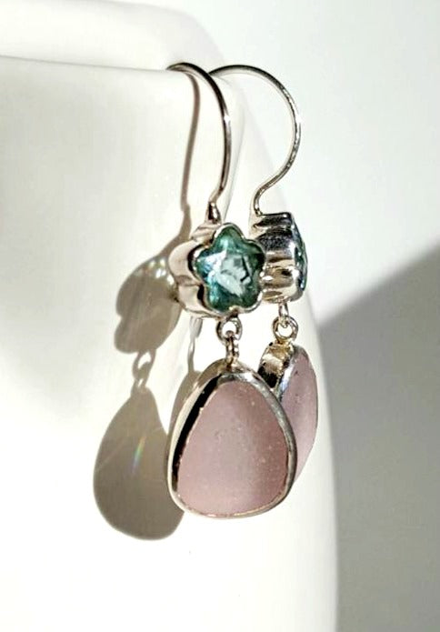 Real Beach Glass Earrings in Lavender