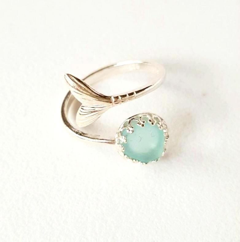 Mermaid Ring With Real Sea Glass And Sterling Silver