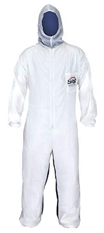 COVERALLS, MOONSUIT NYLON/COTTON HOOD, L 6 EA/BOX  WASHABLE