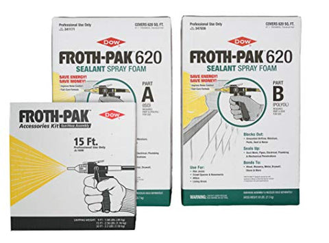 DOW FROTH-PAK 620 (1.75) Complete Spray Foam Kit 15' Hose 341171, 347036, & 158398…