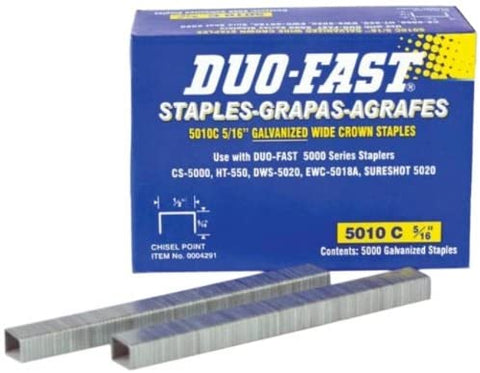 "DUO-FAST STYLE 5/16"" WIDE 1/2"" CROWN STAPLES"