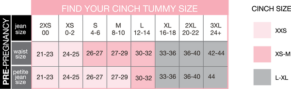 Cinch Tummy Wrap and Atlas Wrap Sizing Chart