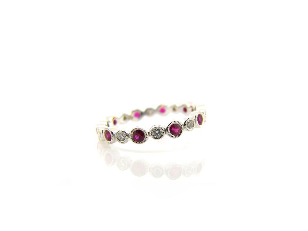 Bezel Set Diamond and Ruby Eternity Band