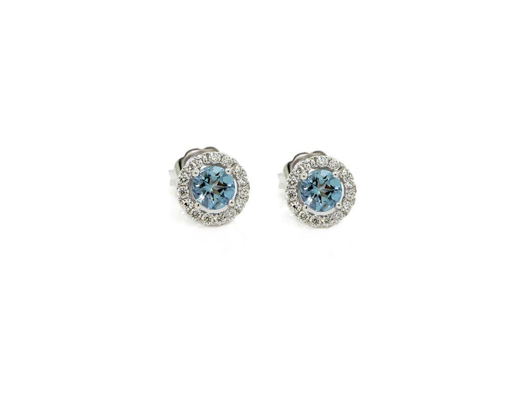 Aquamarine and White Diamond Stud Earrings