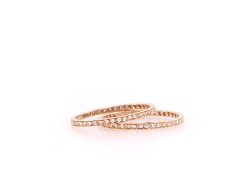 White Diamond and Rose Gold Eternity Band