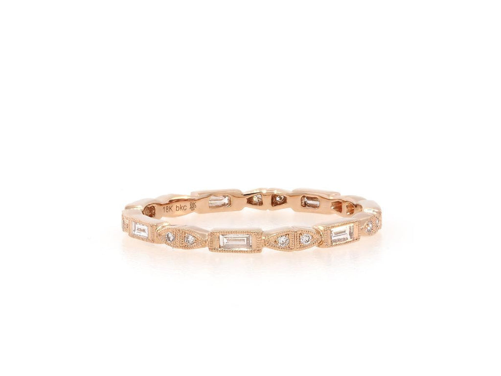 Delicate Baguette and Round Diamond Rose Gold Band