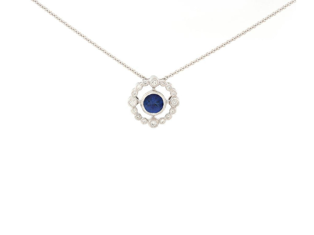 Delicate Blue Sapphire and Diamond Necklace