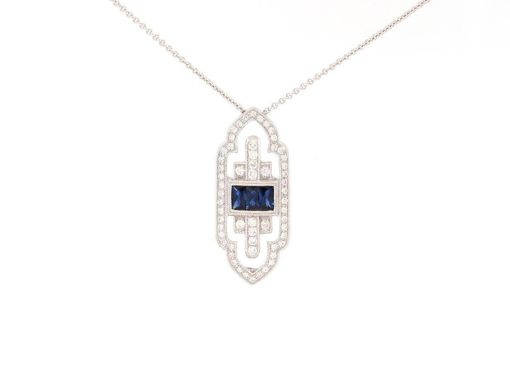 Deco Style Sapphire and Diamond Necklace