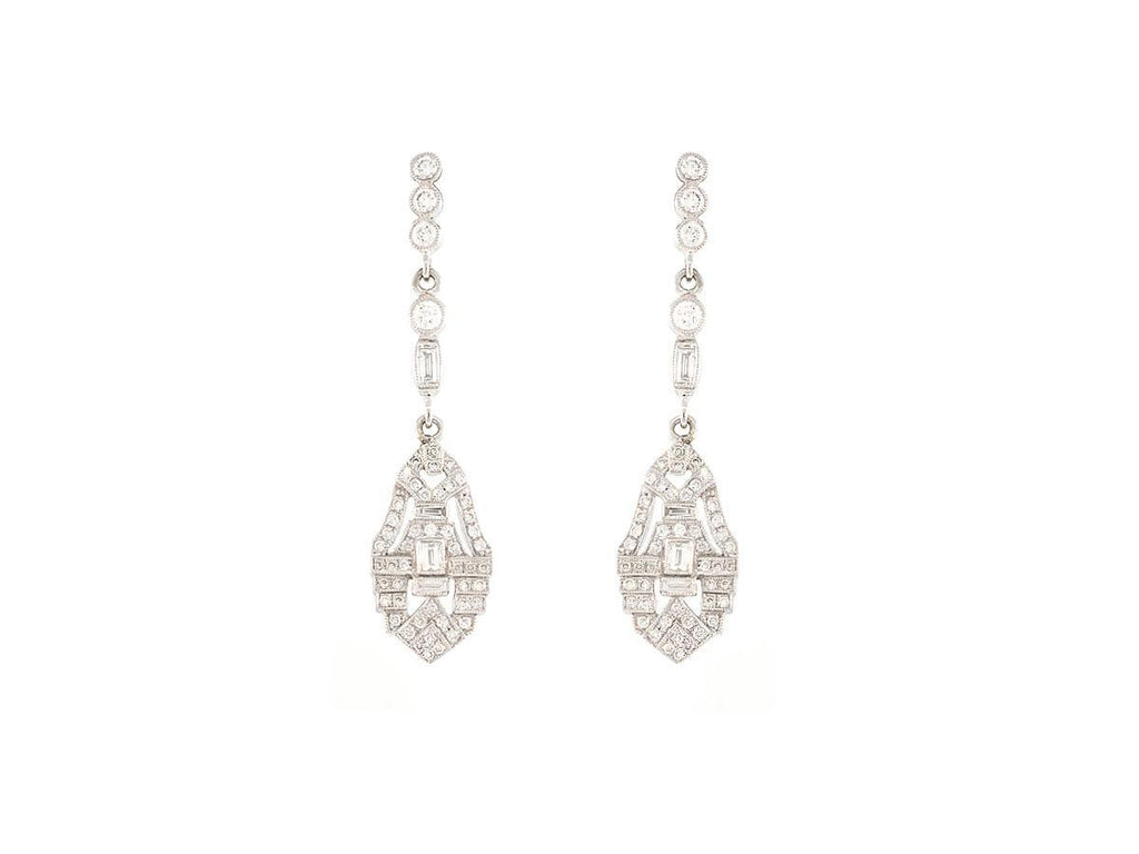 Diamond Deco Inspired Drop Earrings